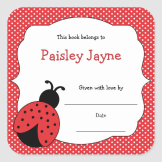 Red Ladybug Bookplates / bring a book baby shower Square Sticker