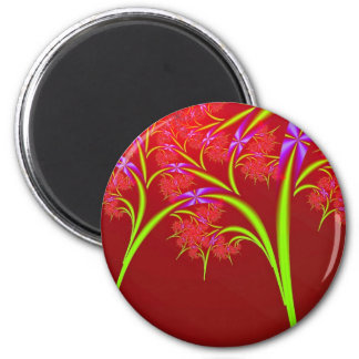 Red Lime Green and Purple Fractal Art Design 6 Cm Round Magnet