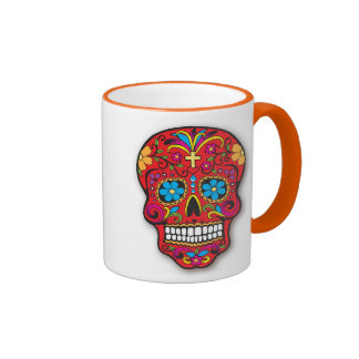 Red Mexican Sugar Skull Day of the Dead Ringer Mug