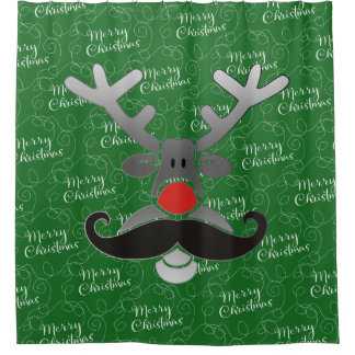 Red Nosed Rudolph with Moustache + your idea Shower Curtain