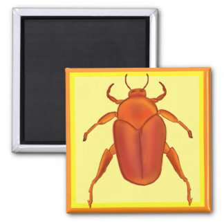 Red-Orange Beetle Square Magnet