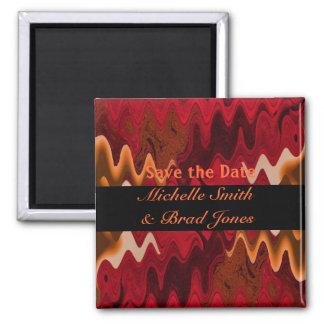 red orange black save the date square magnet