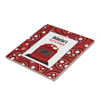 Red Paisley & Retro Stove Kitchen Tile
