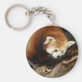 Red Panda Basic Round Button Key Ring