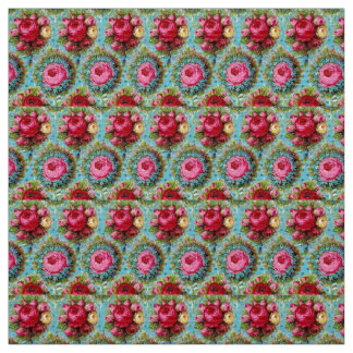 RED PINK YELLOW ROSES IN BLUE FABRIC