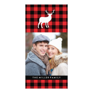 Red Plaid and White Stag   Holiday Photo Card Template