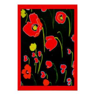 Red Poppies Flower Poster