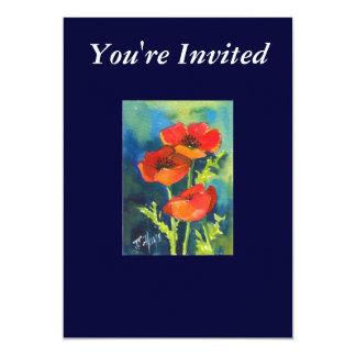 RED POPPY Invitation Card