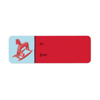 Red Rocking Horse blue small Gift Tag Label Return Address Label