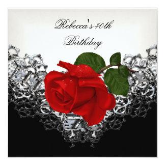 RED Rose 40th Birthday Lace Black White Silver 13 Cm X 13 Cm Square Invitation Card