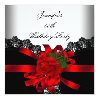 Red Rose Black Lace White Silver Party 13 Cm X 13 Cm Square Invitation Card