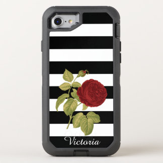 Red Rose Black White Stripes Floral | Add Name OtterBox Defender iPhone 7 Case