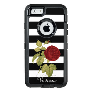Red Rose Black White Stripes Floral | Add Name OtterBox iPhone 6/6s Case
