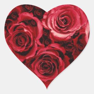 RED Rose Bouquet - Heart Wedding Envelope Seal Heart Sticker