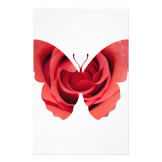 Red rose butterfly silhouette personalized stationery
