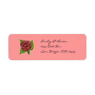Red rose return address labels