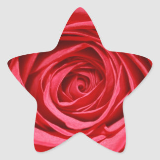 Red Rose Wedding Flowers Glossy Floral Patterns Star Sticker