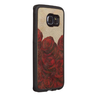 Red Roses Oil Textured Wood Phone Case