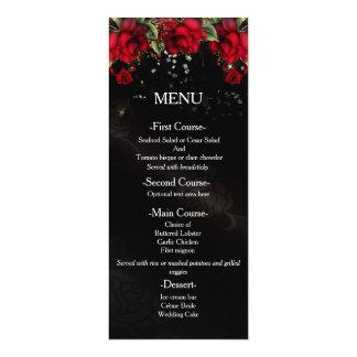 Red Roses on black Wedding Menu Card 10 Cm X 24 Cm Invitation Card