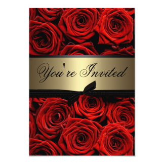 Red Roses Wedding 13 Cm X 18 Cm Invitation Card