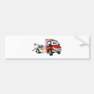 Red Silver Cartoon Tow Truck Bumper Sticker