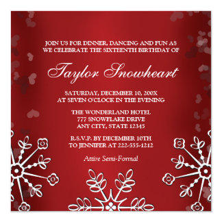 RED SNOWFLAKE SWEET SIXTEEN BIRTHDAY 13 CM X 13 CM SQUARE INVITATION CARD