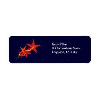Red Stars Return Address  Label Return Address Label