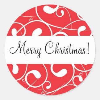 Red Swirl, Merry Christmas! Round Sticker
