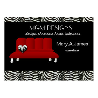 red trendy interior decorator Business Cards