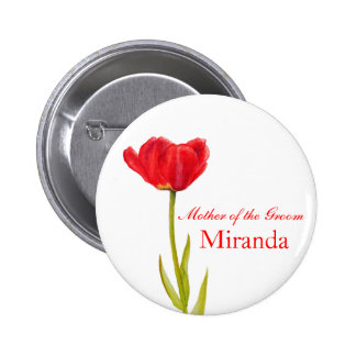 Red tulip mother of the groom wedding pin button