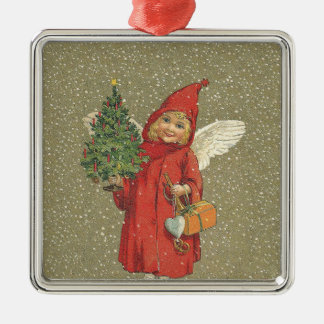 Red Vintage Christmas Angel Tree Silver-Colored Square Decoration