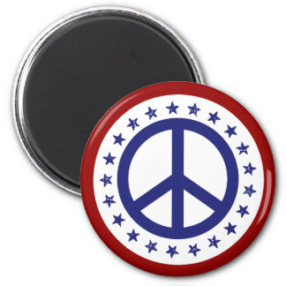 Red White and Blue Peace Sign and Stars 6 Cm Round Magnet