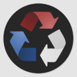 Red, White and Blue Recycling Symbol Round Sticker