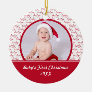 Red & White Baby's First Christmas Photo Ornament