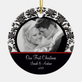 Red & White Damask Photo First Christmas Ornament
