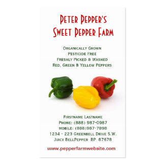 Red Yellow & Green Bell Peppers Pack Of Standard Business Cards