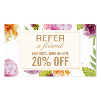 Refer a Friend Beauty Salon Floral Referral Card Pack Of Standard Business Cards