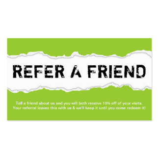 refer a friend page rip (color customizable) pack of standard business cards