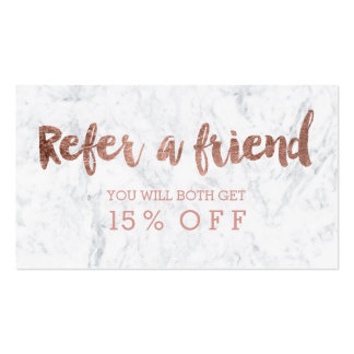 Referral card modern rose gold typography marble pack of standard business cards