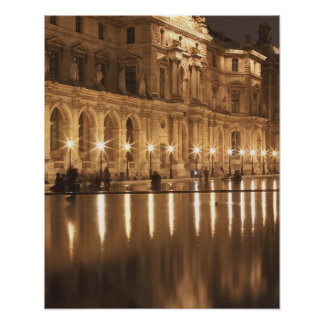 Reflecting pool at the Louvre, Paris, France Poster