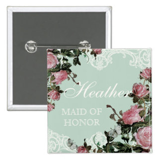 Rehearsal Bridal Party tags, Trellis Rose Vintage 15 Cm Square Badge