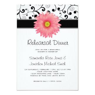 Rehearsal Dinner Pink Gerbera Daisy Black Scroll 13 Cm X 18 Cm Invitation Card