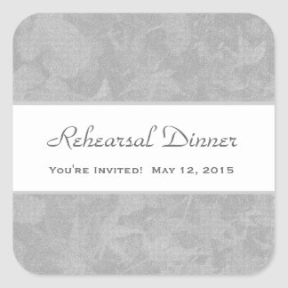 Rehearsal Dinner Silver Leaves Square Sticker