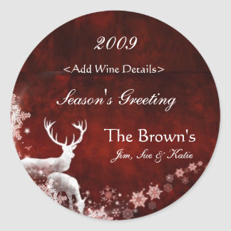Reindeer and Red Customized Christmas Wine Labels Round Sticker