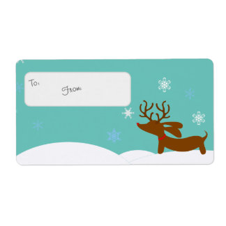 Reindeer Dachshund Holiday Gift Tag Sticky Labels