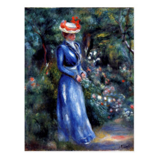 Renoir - Woman in a Blue Dress Postcard
