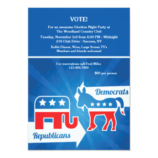 Republicans and Democrats Election Party Invitatio 13 Cm X 18 Cm Invitation Card