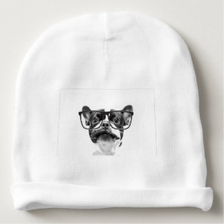 Reputable French Bulldog with Glasses Baby Beanie