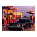 Retro American Muscle Car Postcard