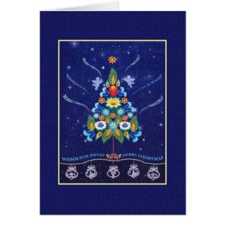 Retro Bilingual Polish English Christmas Card